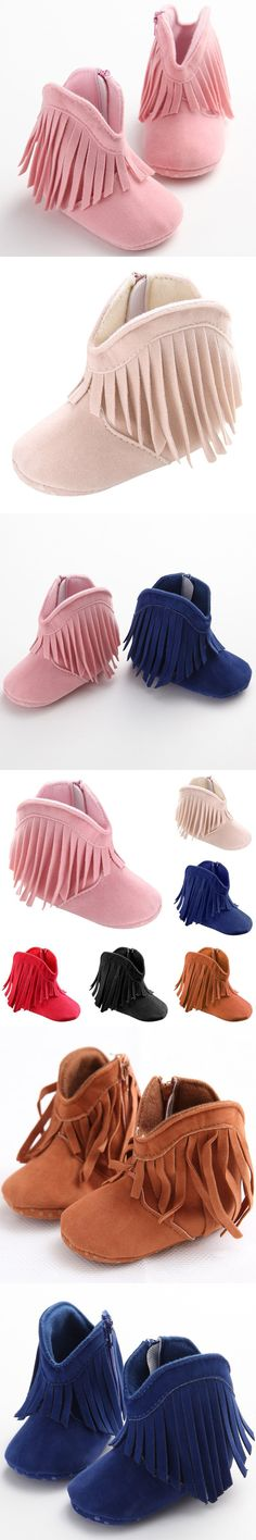 Infant Soft Soled Anti-slip Boots Booties Baby Boots Girl Boy Kids Solid Fringe Shoes $3.5