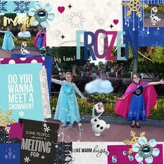 Disney's Frozen Digital Scrapbook page featuring Project Mouse: Ice by Britt-ish Designs and Sahlin Studio Disney Scrapbook Pages, Warm Hug, Scrapbook Designs, Disney Vacations, Disney Frozen, Digital Scrapbooking, Ice, Working Hard, Disney Princess