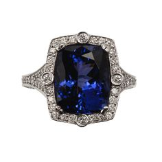 8.07ct Cushion Cut Tanzanite and Diamond Ring  Zabler Design Jewelers  Reference Number: R6918