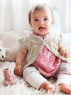 Crochet Baby Girl Cleire Cardigan by Norah Gaughan - Fashion Kids, Baby Girl Fashion, Knitting For Kids, Crochet For Kids, Baby Knitting, Crochet Bebe, Knit Crochet, Ravelry Crochet, Baby Overall