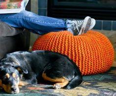 Knit Garter Stitch Floor Pouf free pattern