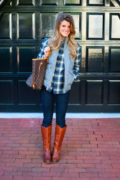 threads preppy outfit with striped turtleneck and plaid button up and grey puffer vest and riding boots Puffer Vest Outfit, Vest Outfits, Striped Turtleneck, Preppy, Riding Boots, Button Up, Turtle Neck, Plaid, Color