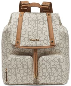 ec8170460bf11 Calvin Klein Teodora Cargo Signature Backpack - Tan Beige Calvin Klein  Handbags