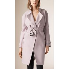 Burberry Wool Belted Wrap Coat ($1,675) ❤ liked on Polyvore featuring outerwear, coats, belted coat, woolen coat, wool coat, pink oversized coat and burberry coat