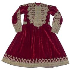 Preowned Russian Embroidered Red Velvet Afghan Wedding Dress ($3,600) ❤ liked on Polyvore featuring dresses, wedding dresses and red