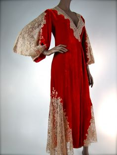 1930s Valentine Red Velvet Lace Robe by Juel Park, who made couture lingerie for major Hollywood Studios between 1930s and the 1970s.  He used the finest silks and laces available for his garments.