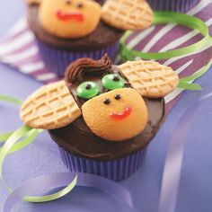 Monkey Cupcakes Recipe -Kids' eyes will light up when they see these cute jungle goodies. The cupcakes never fail to make my grandkids smile, and they're always a huge hit at bake sales. —Sandra Seaman, Greensburg, Pennsylvania