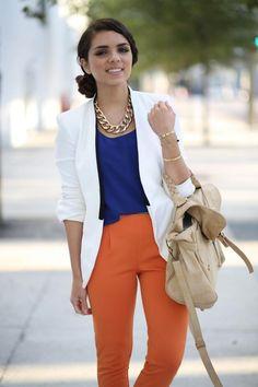 How To Wear Orange Trousers & Pants For Women (29)