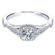 14K White Gold .67cttw Vintage Cushion Halo Diamond Engagement Ring