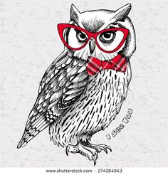 The image of an owl with bow and glasses. Vector illustration. - stock vector