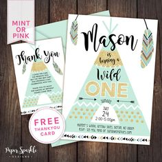 Wild One, teepee Glitter effect First Birthday, digital invitation 5x7  FULLY CUSTOMISABLE, digital Birthday Invitation *Comes with FREE