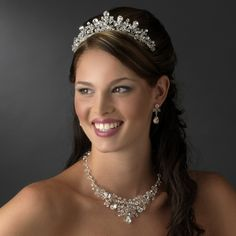 Crystal and Rhinestone Wedding Tiara and Jewelry Set