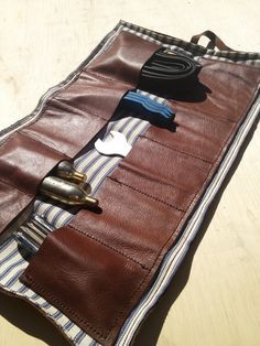 Leather  bicycle tool roll