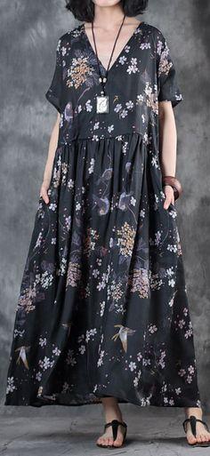 Elegant black linen dress floral linen clothing dresses vintage v neck caftans