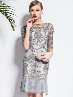 Shop Midi Dresses - Half Sleeve Elegant Two Piece Party Dress online. Discover unique designers fashion at StyleWe.com.