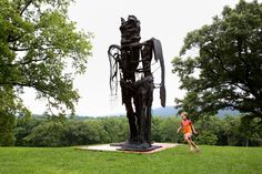 """Like junkyard parts brought to life by extraterrestrial energy: """"Striding Figure II (Ghost),"""" one of Thomas Houseago's sculptures at the Storm King Art Center. Thomas Houseago, Storm King Art Center, Thing 1, Fantastic Art, Public Art, Ny Times, Statue Of Liberty, Contemporary Art, Street Art"""