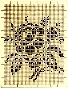 Rose ~ Vintage Filet crochet pattern (1885) http://archive.org/stream/ladiesfancywork00inga#page/n55/mode/2up