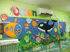 ocean bulletin board with submarine