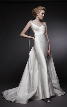 Gorgeous, sleek art deco wedding gown by Peter Langner.