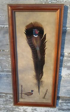 Vintage Framed Turkey Feather Painting