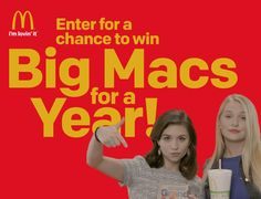 What! Win a $2,000.00 McDonald's punch card that will grant them access for 1-year of free Big Macs. Are you the Grand Mac, Big Mac or Mac Jr.? Let the sponsor know which Mac you are for a chance to win Big Macs for an entire YEAR!