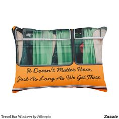 Travel Bus Windows Accent Pillow