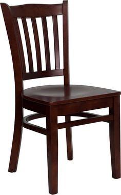 HERCULES Series Mahogany Finished Vertical Slat Back Wooden Restaurant Chair XU-DGW0008VRT-MAH-GG by Flash Furniture