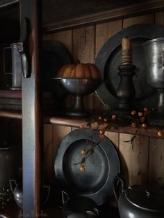 Primitive colonial cupboard with pewter display for Fall ❤️