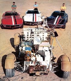 apollo 15 astronauts, their corvettes and the lunar rover