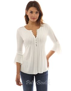 Henley Lace Inset 3/4 Bell Sleeve Blouse - PattyBoutik