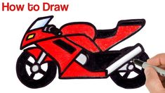 motorcycle drawing How To Draw A Motorcycle Easy Drawings For Beginners, Simple Art, Learn To Draw, Art Tutorials, Motorbikes, Coloring, Gravure, Motorcycles, Random