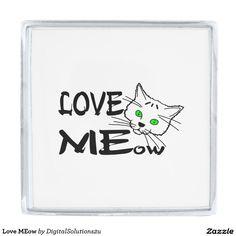 Love MEow Silver Finish Lapel Pin