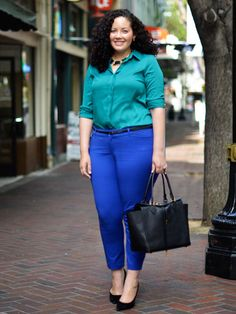 Get inspired: Three women show off their style in cobalt pants -> love Girl With Curves & her YT vids. Her outfit works bc the saturations are matching, not competing.