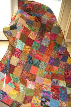 Patchwork Quilt Large Throw Blanket Scrappy Fall by PeppersAttic, $245.00