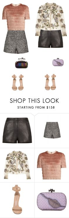 """""""Dress up show up"""" by audrey-balt ❤ liked on Polyvore featuring BCBGMAXAZRIA, Raey, Gianvito Rossi, Bottega Veneta and Alexander McQueen"""