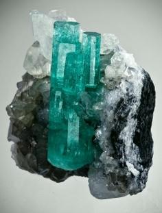 Emerald with Calcite - Coscuez Mine, Boyaca Dept., Colombia