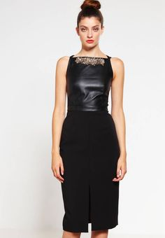 """Shift dress - black. Lining:97% polyester, 3% spandex. Outer fabric material:91% polyester, 9% spandex. Fastening:zip. Total length:43.5 """" (Size 10). Insert material:100% leather. Details:undergarment. Length:knee-length. Fit:tailored. Pattern:plain. Washing instructi..."""