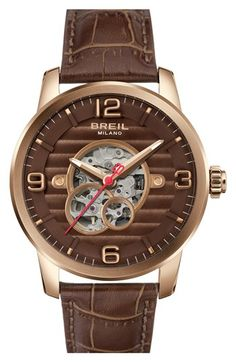 Breil 'Miglia' Automatic Leather Strap Watch, 44mm available at #Nordstrom $400.00