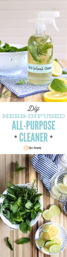 DIY homemade herb-infused cleaner! This all-purpose spray cleaner naturally cleans. No nasty ingredients! Super inexpensive. http://livesimply.me/2015/06/07/herb-infused-diy-all-purpose-cleaner/