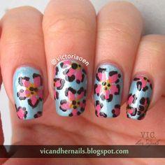 "April Tri-Polish Tuesday Day 2 ""Leopard-ish Flower"""