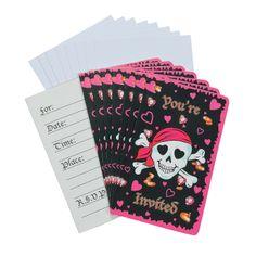 Pink Pirate Girl Invitations - OrientalTrading.com