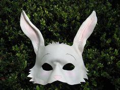 White Rabbit Leather Mask  Wonderland Series by MummersCat on Etsy, $77.00