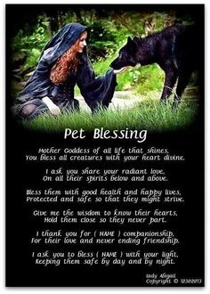 Beautiful pet blessing and protection spell, Wiccan protection spell for your lovely animals. Blessed Be!