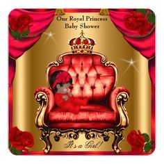 Princess Baby Shower Girl Gold Red Rose Chair 5 Card
