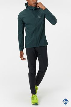 As the weather starts to cool, the standout ARC'TERYX Men's Squamish Hoody will have you feeling fall-ready.  Light rain and wind will be no match for this DWR finished outer shell.  - Shop with Free Shipping and Free Returns at Running Warehouse! - #run #running #runner #motivation #habit #goals #training #workout #health #fitness #footwear #shoes #jog #walk #nike #newbalance #hoka #altra #brooks #adidas #marathon #athletic #exercise #style #fashion #outfit #clothes #gym #sneakers Running Jacket, Running Gear, Vest Jacket, Bomber Jacket, Running Inspiration, Footwear Shoes, Logo Branding, Jogging, Style Fashion