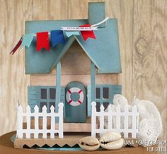 Beach Cottage using Bigz Die Village Dwelling by Tim Holtz
