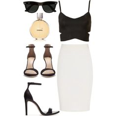 A fashion look from March 2013 featuring brassières, jupe crayon et sandales noires. Browse and shop related looks.