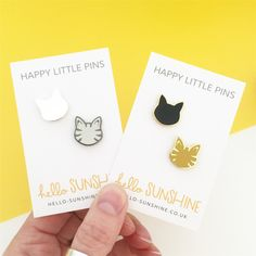 Little Kitty pin set - black cat - tabby cat - grey tabby - silver cat - hard enamel pin badges - perfect cat lovers gift - crazy cat lady by HelloSunshineEtsy on Etsy https://www.etsy.com/uk/listing/467491182/little-kitty-pin-set-black-cat-tabby-cat