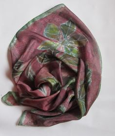 Plum color square with leaves. Dark pink fall by EveSilkBatik