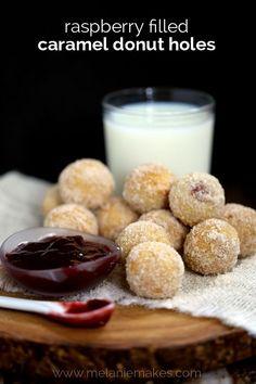 Raspberry Filled Caramel Donut Holes | Melanie Makes